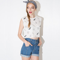 Sea Shell And Whale Printed Sleeveless Crop Top Shirt
