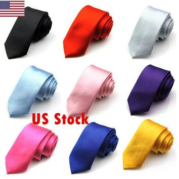 Skinny Necktie Plain Wedding Slim Necktie Formal Casual Narrow Party Men's Ties