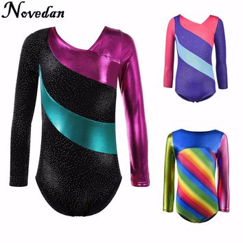 Kids Child Rhythmic Gymnastics Leotard For Girls Shiny Metallic Rhinestone Dance Ballet Leotard Dress Long Sleeve Gym Leotard