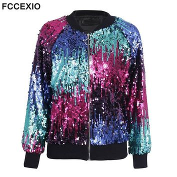 Trendy FCCEXIO Sequin Zipper Jacket Coat Female Casual Streetwear Bomber Jacket Women 2017 Autumn Winter Outerwear Fashion Basic Jacket AT_94_13