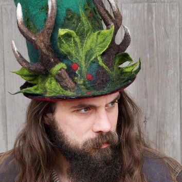 Unique felted top hat, high hat, woodland hat, hat with reindeer horns, mens Christmas hat, festive antlers hat, wearable art, OOAK
