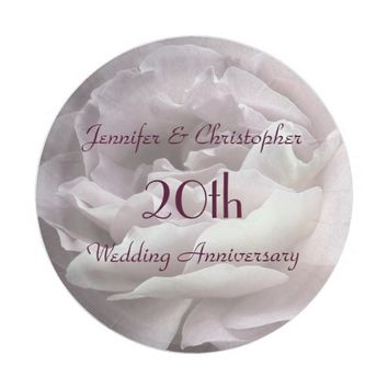 Pink Rose Paper Plates, 20th Wedding Anniversary Paper Plate