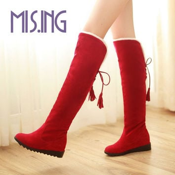 Hot sales women shoes fashion Nubuck Leather Knee-High boots Lace-Up Round Toe Knight Boots Height Increasing winter snow boots