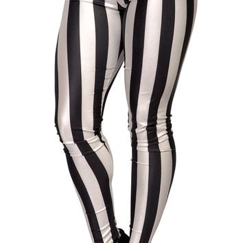 Black and White Vertical Stripes Leggings Design 206