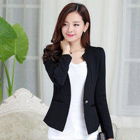 Women Slim Blazer Casual Jacket One Button