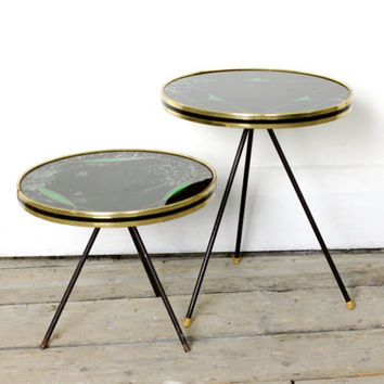 Pair of  Vintage French Tripod Tables - 1950s Modernist Side or End Table
