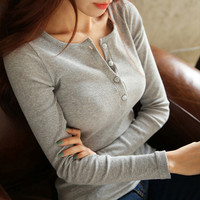 Fashion solid color button Knitted T-shirt