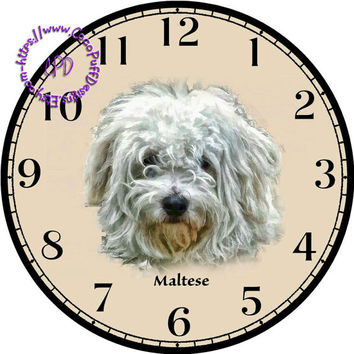 """White Short-Haired Maltese Dog Art - -DIY Digital Collage - 12.5"""" DIA for 12"""" Clock Face Art - Crafts Projects"""