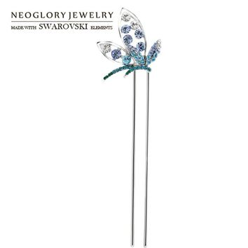 Neoglory Austria Rhinestone Hair Sticks Alloy Plated Romantic Style Butterfly Shaped Jewelry For Women Sale Trendy Gift
