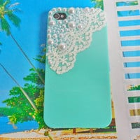 Fashion blue hard Case cover white pearl for apple iPhone 4GS case ,iPhone 4 case,iPhone 4S case ,iPhone hand case cover