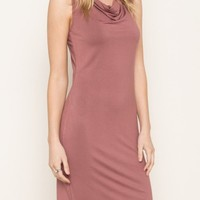 Jersey Cowl Dress in Mauve
