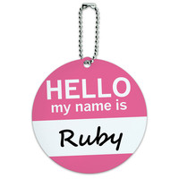 Ruby Hello My Name Is Round ID Card Luggage Tag