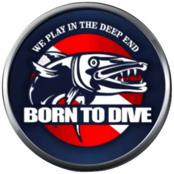 Born To Dive Barracuda Diver Down Flag Scuba 18MM - 20MM Snap Jewelry Charm New Item