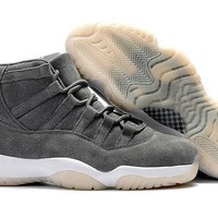 Air Jordan Retro 11 Suede Men Basketball Shoes 11s Gray Suede Sports Sneakers High Qua
