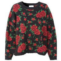 ROMWE | Retro Floral Batwing Sleeve Black Jumper, The Latest Street Fashion