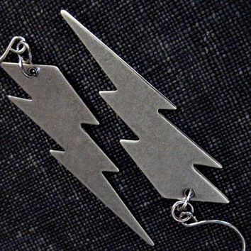Lightning Bolt Earrings - Ox Silver Lightning Bolt Charms on Silver French Hooks