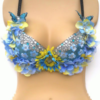 Yellow/Blue Flower Rave Bra / Festival Outfit