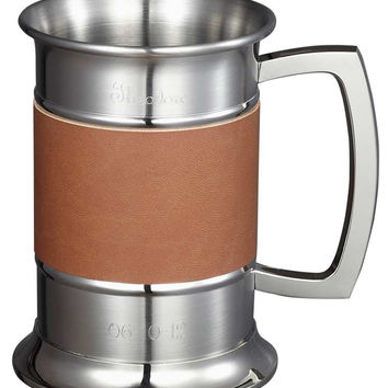 18 ounce Brown Leather Wrapped Stainless Steel Beer Tankard