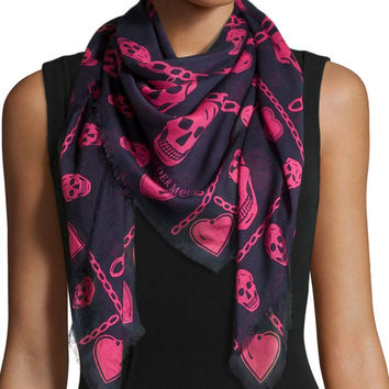 "Skull Charm-Print Scarf, Size: 33"", BLUE/PINK - Alexander McQueen"