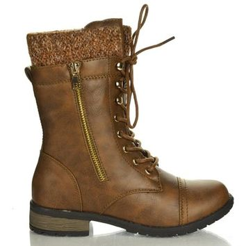 Forever Link Womens Mango-31 Round Toe Military Lace Up Knit Ankle Cuff Low Heel Combat Boots,Brown Pu,5.5