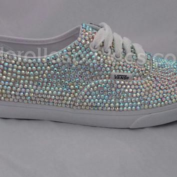 100% Genuine Rhinestone Crystal Vans Shoes- Bridal Prom Romany Trainers SWARVOSKI REPL