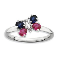 Sterling Silver Stackable Expressions Created Ruby and Blue Sapphire Butterfly Ring