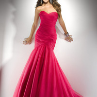 Funky Pink Gathered Tulle Mermaid Lace Up Prom Gown - Unique Vintage - Pinup, Holiday & Prom Dresses.