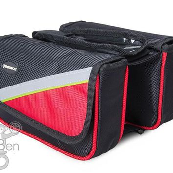 Cycling Front Pannier Double Pouch Saddle Bag Phone Holder With Storage