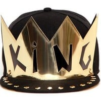 Hip-Hop King Crown Black Adjustable Hat Cap Snapback - USA Seller