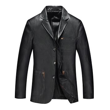Spring Long Hombre Business Style Brown Leather Jacket Men