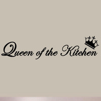 Queen of the Kitchen Vinyl Wall Art Decal Quote Saying Lettering Moms Home Decor