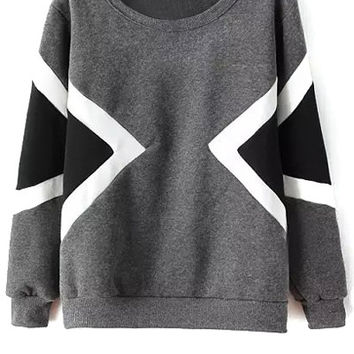 Argyle Color Block Sweatshirt