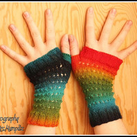Unique fingerless mittens - one-of-a-kind - precious yarn and lush colours, blue, green, red, orange and yellow