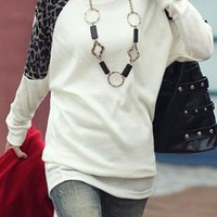 White Round Neck Long Sleeve Leopard Cotton Blends T-Shirt - Sheinside.com