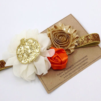 Fall Headband Gold & Cream Pumpkin Headband Glitter Thanksgiving Headband Orange Autumn M2M Giggle Moon Couture  Ballerina Flower Photo Prop
