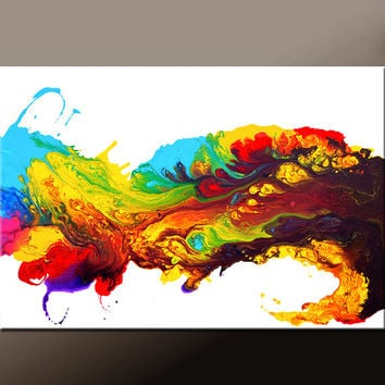 Abstract Canvas Art Prints Large Contemporary Art Giclee Print on Wrapped Canvas by Destiny Womack  - Wave of Euphoria -  dWo