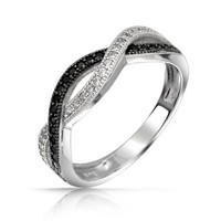 Christmas Gifts Bling Jewelry Sterling Silver Black CZ Pave Twist Infinity Ring