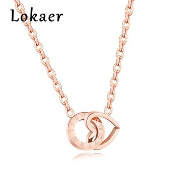 Lokaer New Rose Gold Color Roman Numeral Chokers Necklaces Female Double Love Circle Geometric Clavicle Chain Necklace LGX1281
