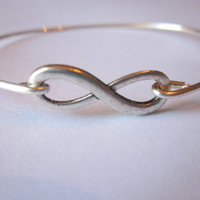 Silver Infinity Bangle Bracelet Silver Infinite Yours Stackable Bangle Charm Bracelet Valentine's Day Gift - Bridesmaid Gift - Gift under 15
