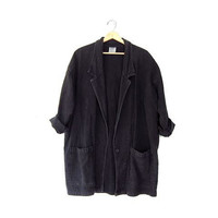 vintage oversized jacket. black cotton jacket. cotton blazer coat.