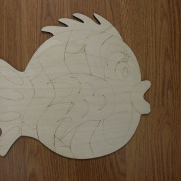 Large Whimsical Fish Wood Cutout, Laser Cutouts, Unfinished Wood, Home Decor, Wall Art,  Wreaths, Door Hangers, Ready to Paint Art
