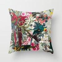 FLORAL AND BIRDS XXII Throw Pillow by burcukorkmazyurek