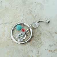 Belly Button Jewelry Ring Turquoise Coral Beaded Dream Catcher Charm