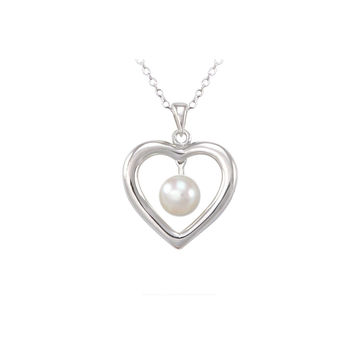 "White Pearl Heart Necklace 26mm .925 Sterling Silver, 18"" Chain"