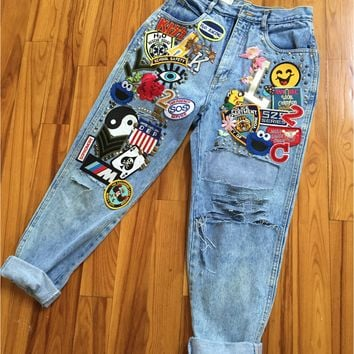Patchwork Ripped Jeans