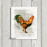 Vintage Rooster printable 5x7 8x10 16x20 Chicken Kitchen decor Kitchen wall art Rooster wall art Chicken print Chicken decor printable Gift