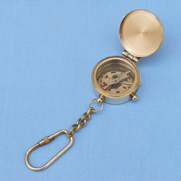 Brass Compass w/Lid Key Chain  - Keychains -  Wooden Ship Models, Nautical Decor & Gifts - GoNautical