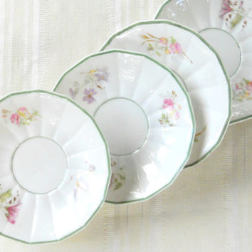 Antique G.Demartine and Cie French Limoges Avenir Saucers, Set of 4, Rare, Small Plates, Wedding, G.D. & Cie, Ca. 1900's