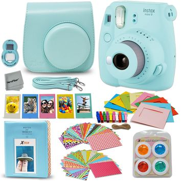 Fujifilm Instax Mini 9 Instant Camera (Ice Blue) + Accessory Kit, Includes: Custom Mini 9 Case with Strap + Assorted Frames + Ph
