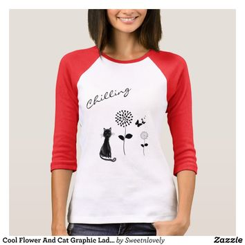 Cool Flower And Cat Graphic Ladies Top